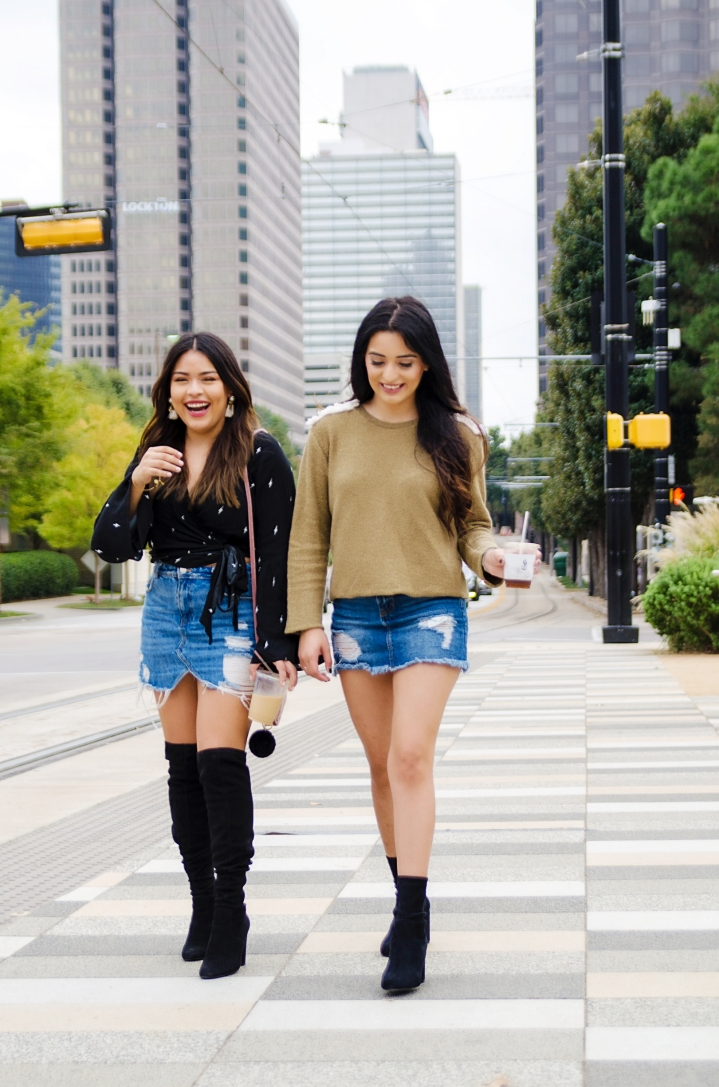Denim Skirts & Boots